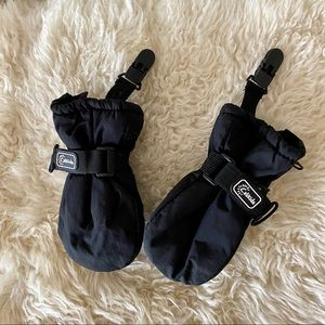 4/$20 Calikids black baby mittens zippers & clips